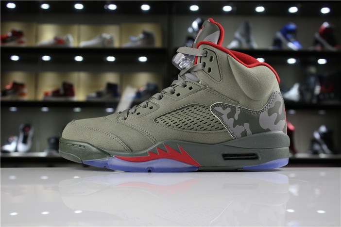 "Air Jordan 5 (V) Retro ""Camo"" Dark Stucco University Red 136027 051 Shoes"