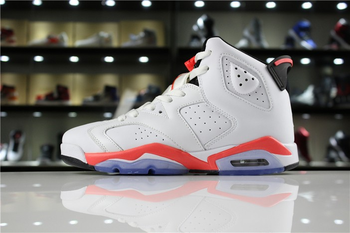 "Womens Air Jordan 6 (VI) Retro ""White Infrared"" White Infrared Black 384664 123 Shoes"