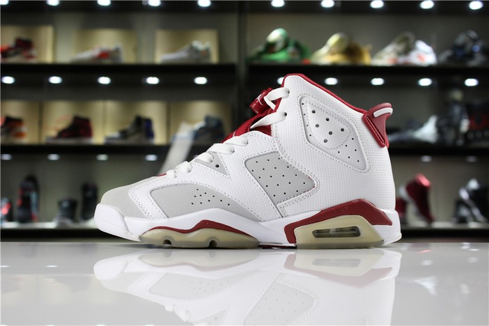 "Air Jordan 6 (VI) Retro VI ""Hare"" White Pure Platinum Gym Red Shoes"