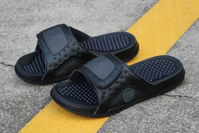 "Air Jordan Hydro 13 Retro ""Black Cat"" Black Anthracite Sandals"