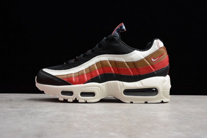 "Nike Air Max 95 ""Pull Tab"" Black Sail Ale Brown Gym Red Running Shoes"