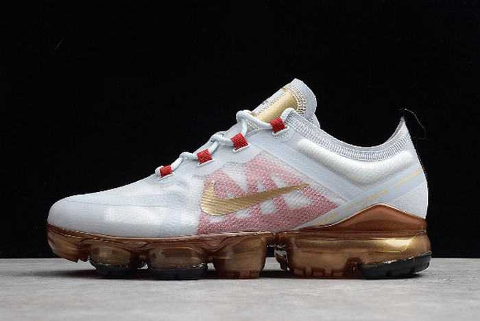 "Nike Air VaporMax 2019 ""Chinese New Year"" Pure Platinum Metallic Gold Gym Red BQ7038 001 Shoes"