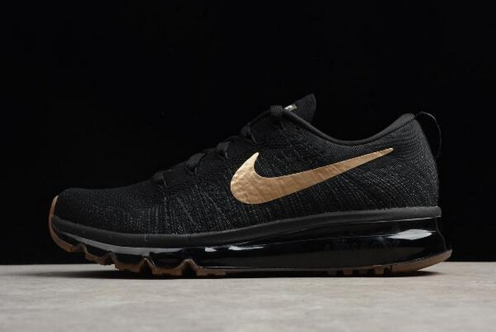 Mens Nike Flyknit Air Max Black Gold 845615 993 Running Shoes