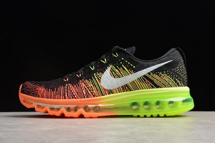 Nike Flyknit Max Black Sail Atomic Orange Volt Running Shoes