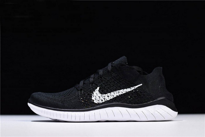 Nike Free Rn Flyknit 2018 Black White Running Shoes