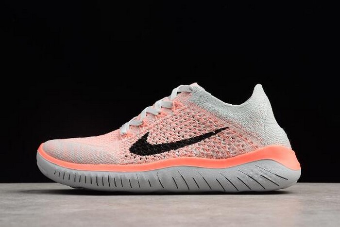 Womens Nike Free Run Flyknit 2018 Crimson Pulse Pure Platinum Black Running Shoes