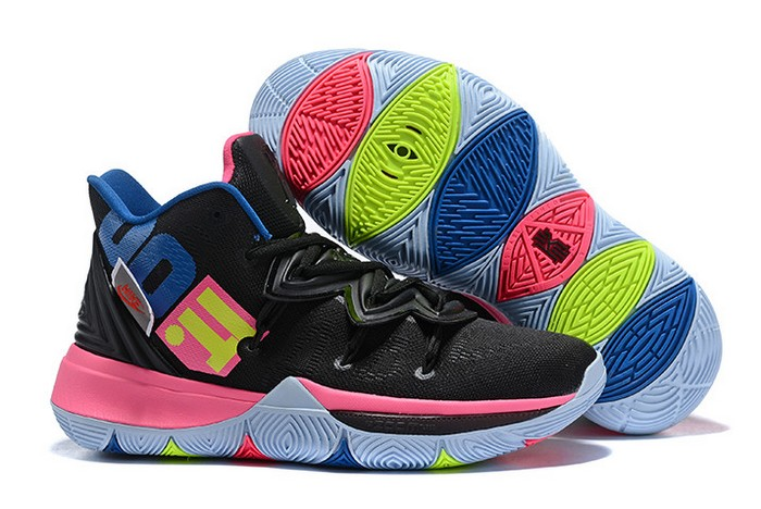 "2018 Nike Kyrie 5 (V) ""Just Do It"" Black Pink Multi Color Basketball Shoes"