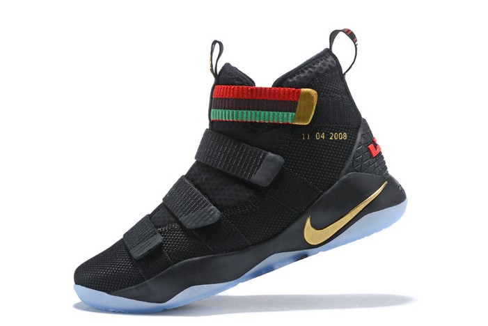 "Mens Nike LeBron Soldier 11 ""BHM"" Black Green Red Basketball Shoes"