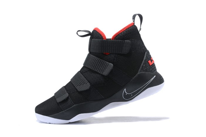 "Nike LeBron Soldier 11 ""Bred"" Black White University Red 897644 002 Shoes"