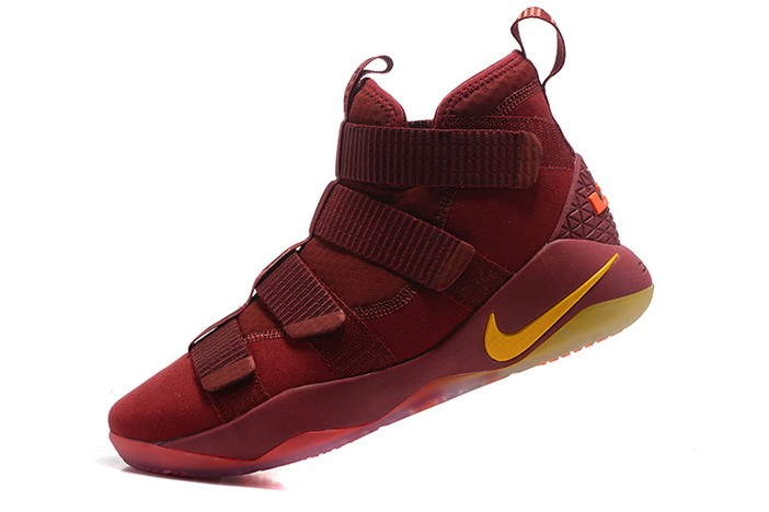 Nike LeBron Soldier 11 Cavs PE Wine Red Gold Basketball Shoes