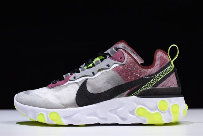 "Nike React Element 87 ""Desert Sand"" Cool Grey Smokey Mauve AQ1090 002 Running Shoes"