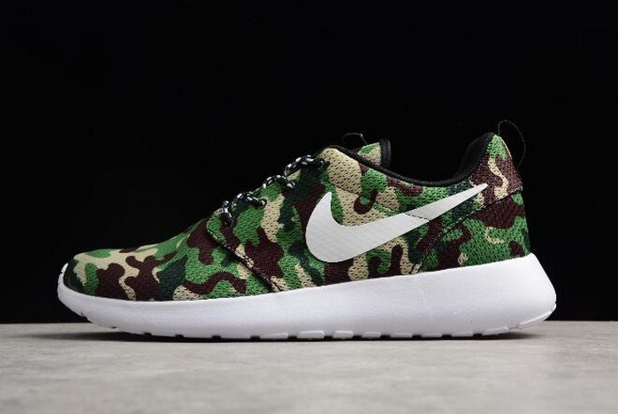 Nike Roshe Run ID White Camo Green Running Shoes