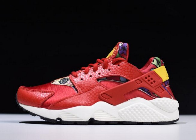 "Womens Nike Air Huarache Run Print ""Aloha"" University Red Tour Yellow Black Shoes"