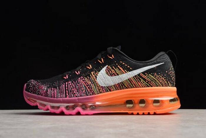 Womens Nike Flyknit Max Black Sail Bright Magenta Atomic Orange Shoes
