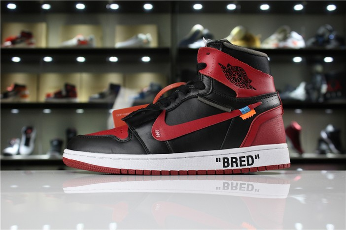 "Off White x Air Jordan 1 High OG 10X ""Bred"" Black Varsity Red White Shoes"