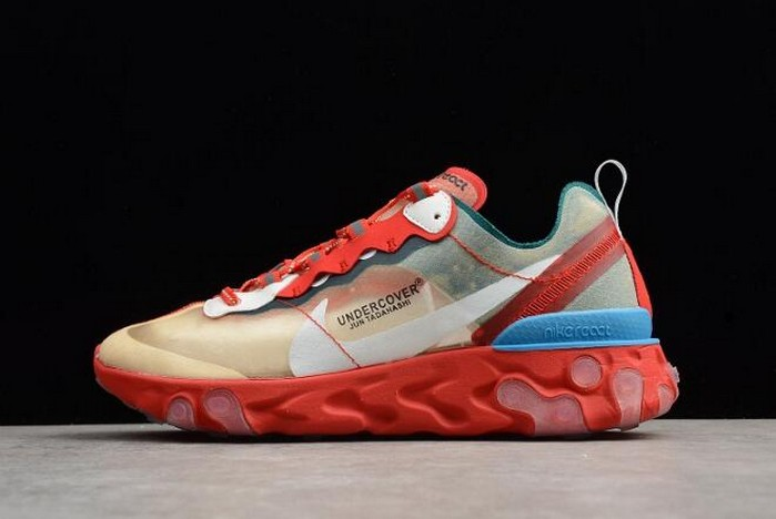 Mens Undercover x Nike React Element 87 Red Light Green Sail Shoes