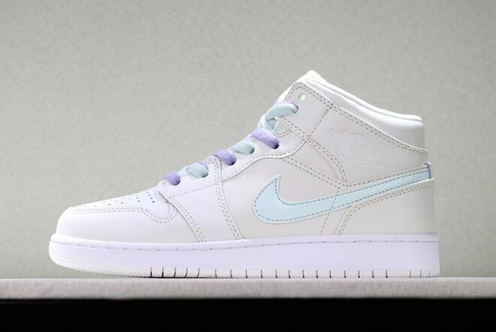 "Girls Air Jordan 1 Mid ""Candy"" Phantom Purple Rise Blue Tint Igloo Shoes"