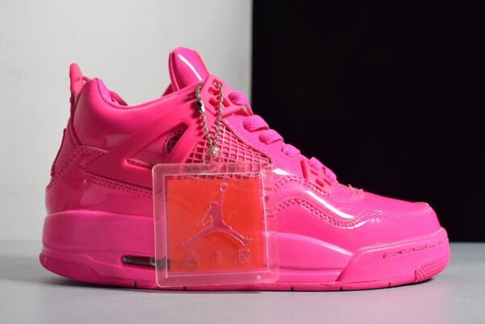 Womens Air Jordan 4 (IV) GS 11Lab4 Pink Patent Leather Shoes