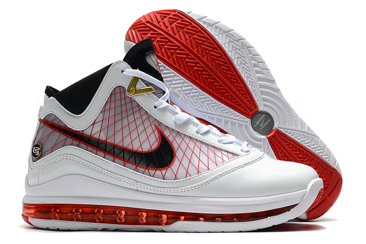 nike lebron 7 white red black men sneakers