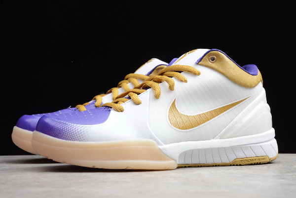 nike zoom kobe 4 white metallic gold purple on sale