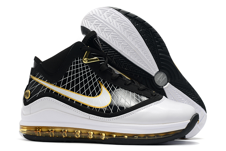nike lebron 7 black white metallic gold